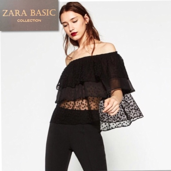 0c1a492727639c Zara Basic Collection Off Shoulder Black Stars Top